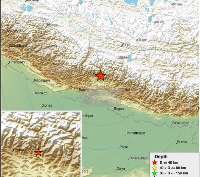 Earthquake in Nepal with magnitude 5.3 on the Richter scale