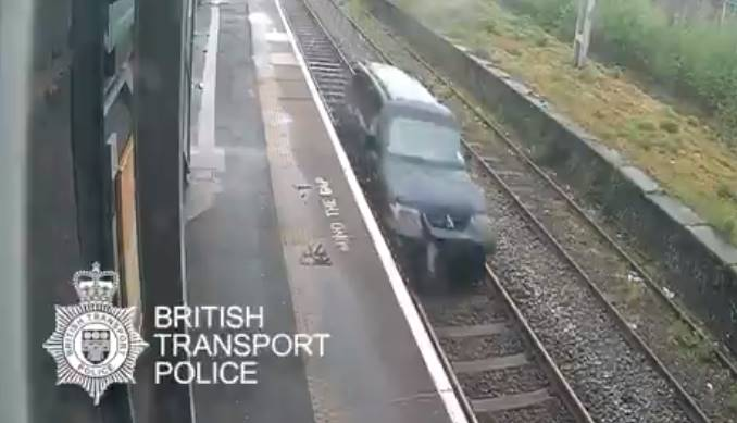 Man arrested for driving car on railway tracks: Watch viral video here